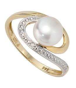 JOBO Gouden ring met zoetwaterparel en 2 briljanten