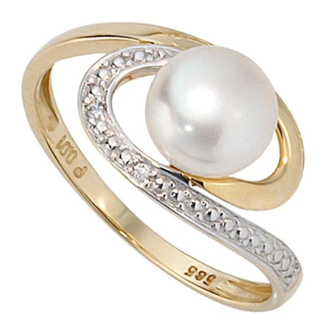 Gouden ring 14 kt (585) met zoetwaterparel en 2 briljanten