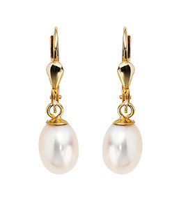 JOBO Golden earrings with oval freshwater pearls