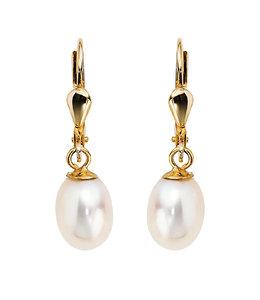JOBO Gouden oorbellen met ovale zoetwaterparels