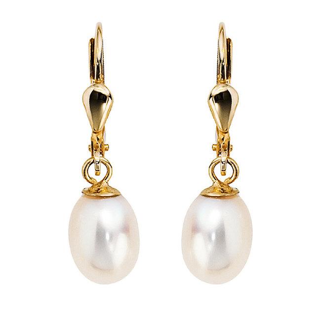 Aurora Patina Goldene Ohrringe mit ovalen Süßwasserperlen