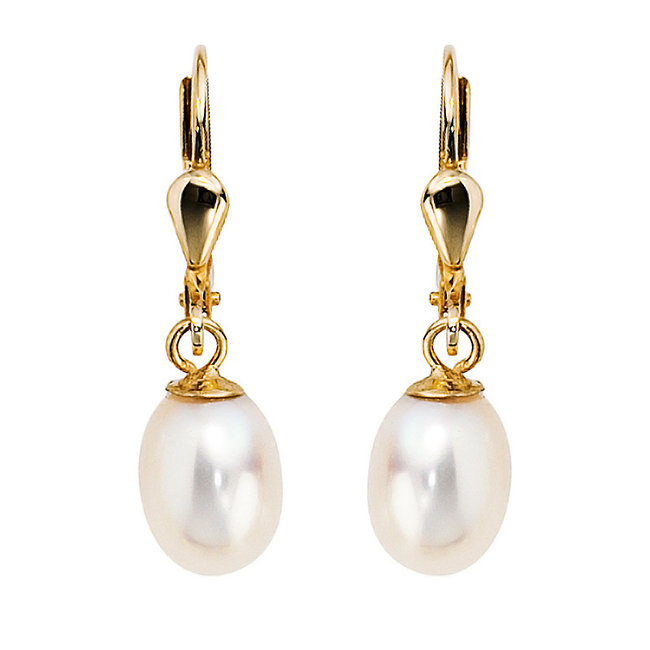 Gold earrings 14 carat (585)  with oval freshwater pearls