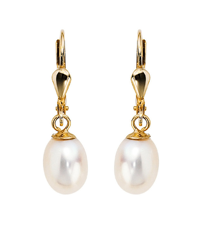 JOBO Gold earrings 14 carat (585)  with oval freshwater pearls