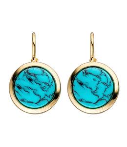 JOBO Gouden oorbellen met 2 turquoises