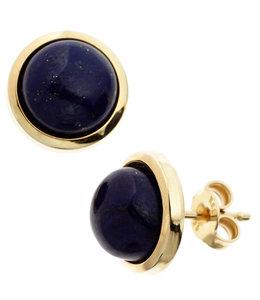 JOBO Gouden oorknopjes met blauwe lapis lazulis