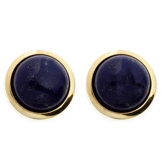 Aurora Patina Gouden oorknopjes met blauwe lapis lazulis