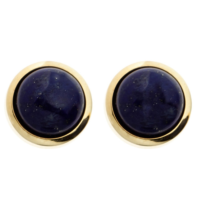 Gold earrings 14 carat (585) with 2 blue lapis lazulis