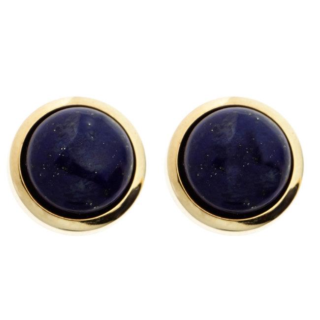Gouden oorknopjes 14 karaat (585) met 2 blauwe lapis lazulis