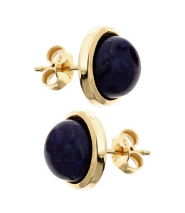 JOBO Gold earrings with blue lapis lazulis