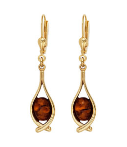 Aurora Patina Long golden earrings amber