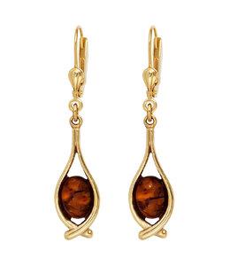 JOBO Long golden earrings amber