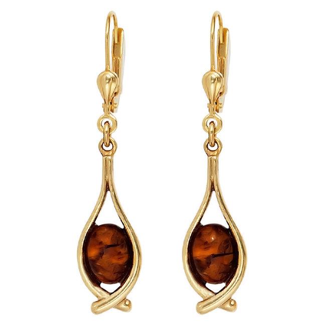 Lange gouden oorbellen (375) met 2 barnsteen cabochons