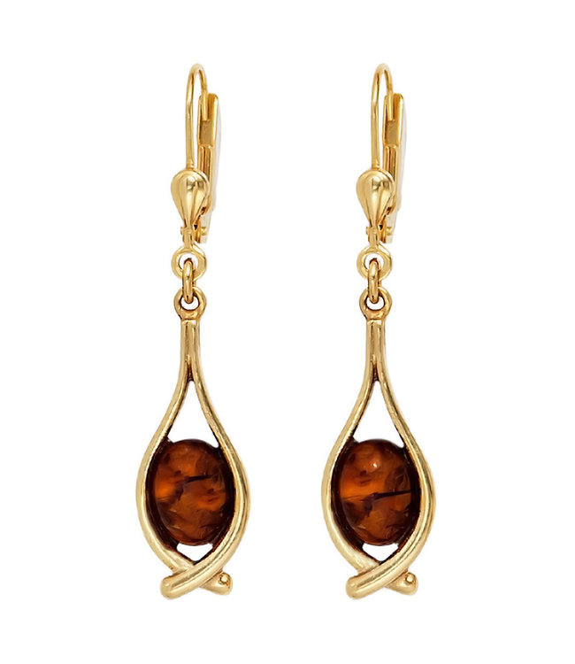 JOBO Long golden earrings (375) with 2 amber cabochon