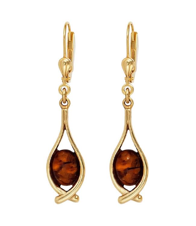 JOBO Lange gouden oorbellen (375) met 2 barnsteen cabochons