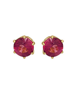 JOBO Golden earrings pink tourmaline 5 mm