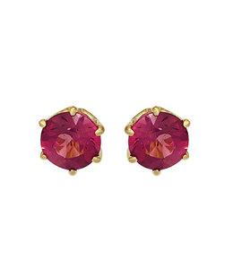 JOBO Gouden oorknopjes roze toermalijn 5 mm