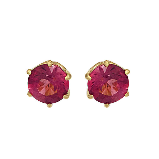 Gold earrings 14 kt. (585) with pink tourmaline 5 mm