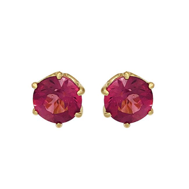 Gouden oorknopjes 14 kt. (585) met roze toermalijn 5 mm