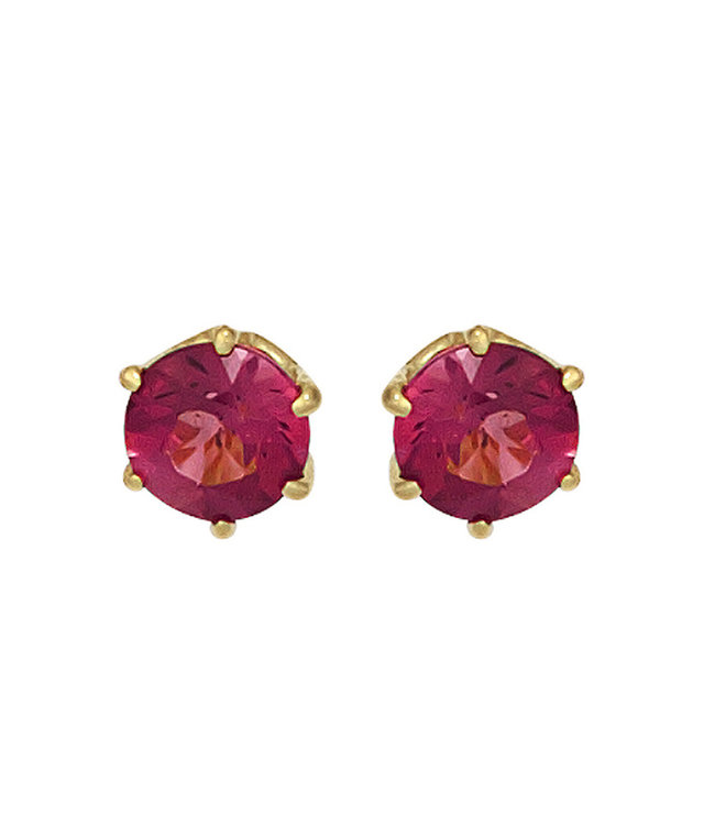 Aurora Patina Gold earrings 14 kt. (585) with pink tourmaline 5 mm