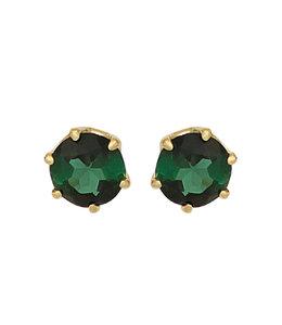 Aurora Patina Gouden oorknopjes met groene toermalijnen 5 mm