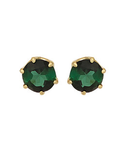 JOBO Golden earrings with green tourmaline 5 mm