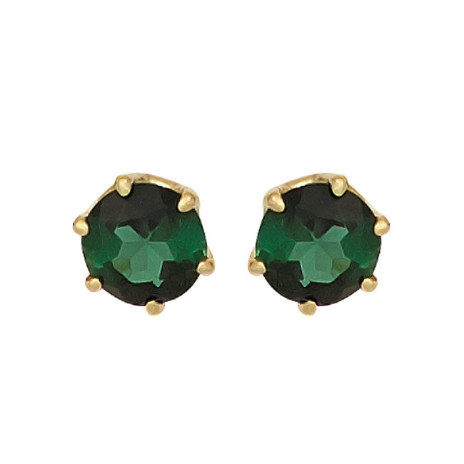 Gold earrings 14 kt. (585) with green tourmaline 5 mm