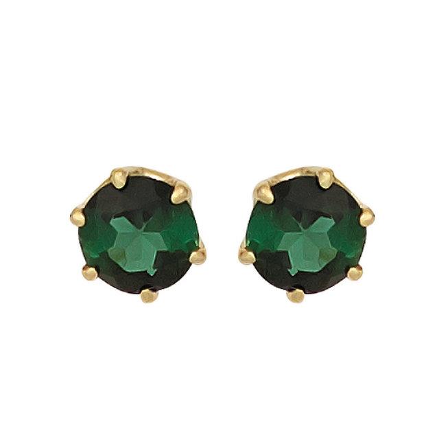 Gouden oorknopjes 14 kt. (585) met groene toermalijnen 5 mm