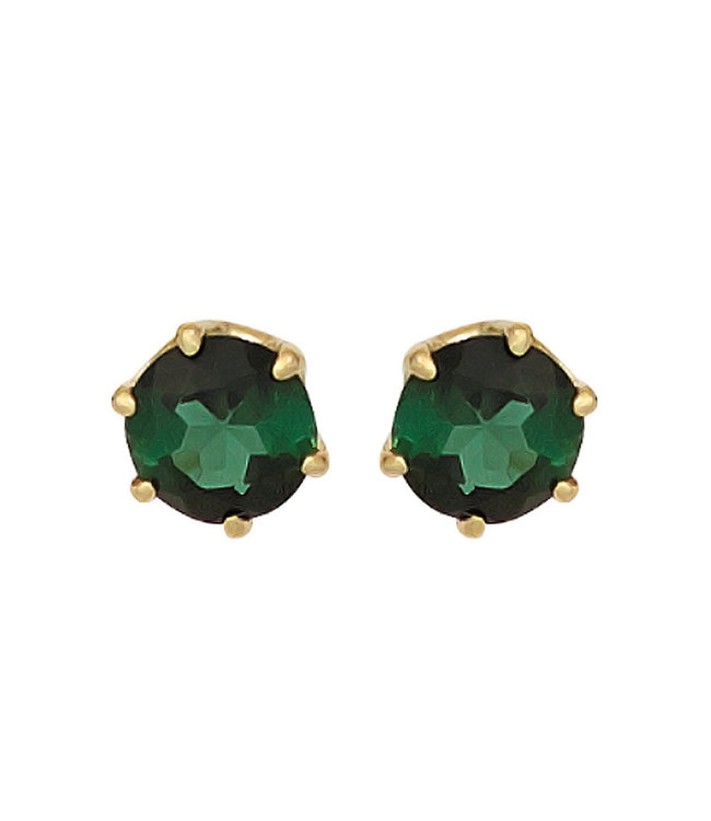JOBO Gold earrings 14 kt. (585) with green tourmaline 5 mm