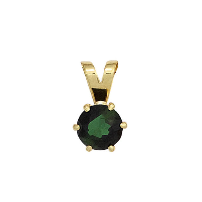 Aurora Patina Gold pendant with a green tourmaline