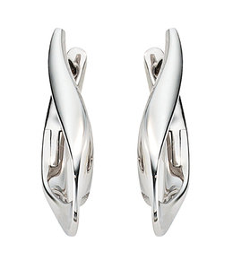 JOBO Earrings creoles Twisted in white gold