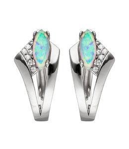 JOBO Hoop earrings silver creoles with opal and zirconia