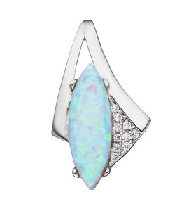 JOBO Silver pendant with opal and zirconia