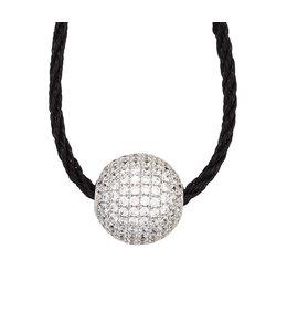 Aurora Patina Silver pendant with zirconia's on cord 45 cm