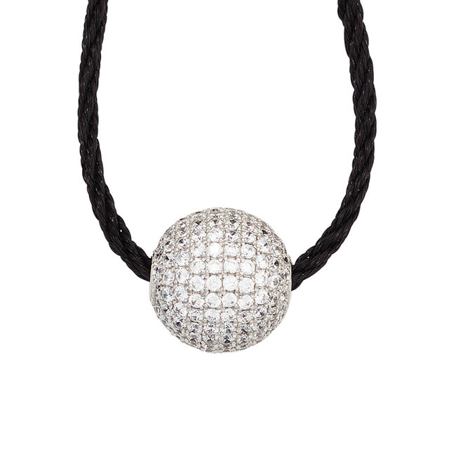 Silver pendant with zirconia's on cord necklace 45 cm