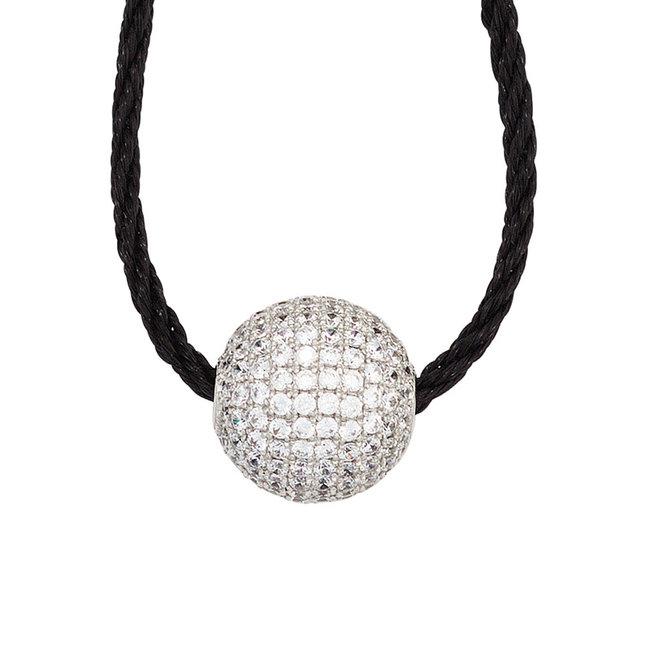 Zilveren hanger met zirkonia's aan koord halsketting 45 cm