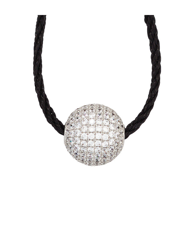Aurora Patina Silver pendant with zirconia's on cord necklace 45 cm