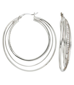 JOBO Large multi-hoop earrings silver zirconia 4 cm