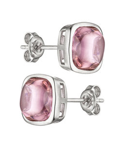 JOBO Silver earring studs with Rose Quartz