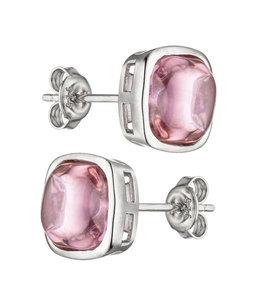 JOBO Zilveren oorstekers met rozenkwarts