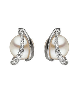 JOBO Zilveren oorstekers met zoetwaterparels en zirkonia