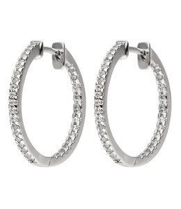 JOBO Silver earrings creoles with zirconia