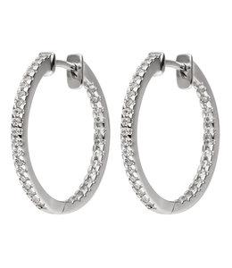 JOBO Zilveren oorbellen creolen met zirkonia
