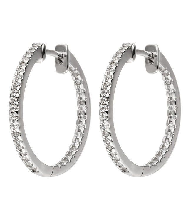 JOBO Hoop earrings in 925 sterling silver with zirconias