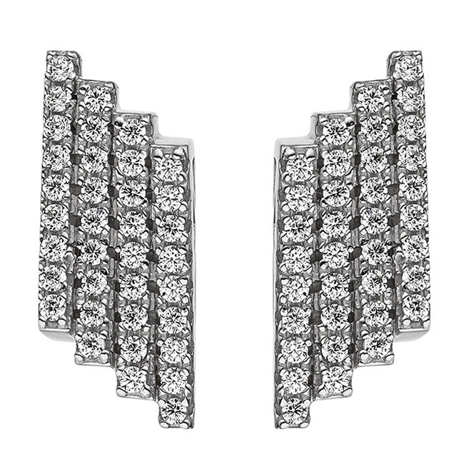 Aurora Patina Silver earring studs with zirconia