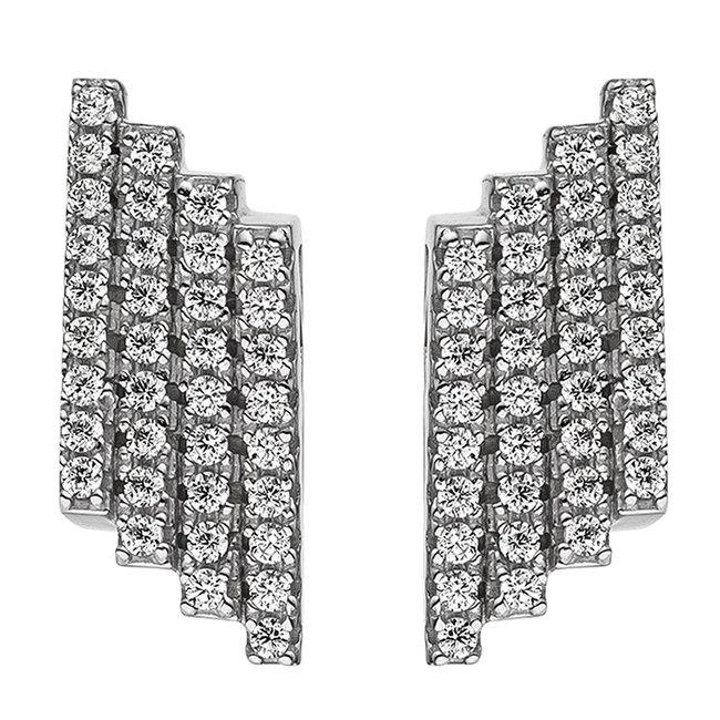 Aurora Patina Zilveren oorstekers met 72 zirkonias