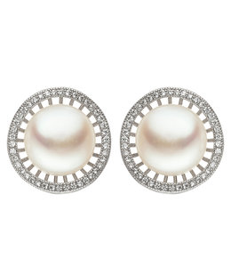 JOBO Silver ear studs with freshwater pearls and zirconia