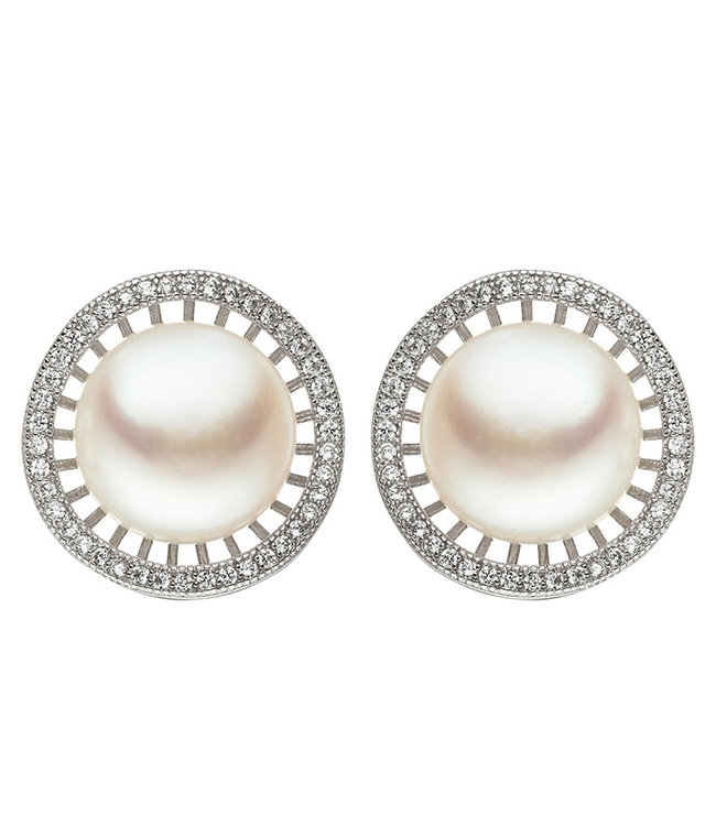 JOBO Sterling silver ear studs (925) with freshwater pearls and zirconia