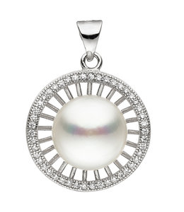 Aurora Patina Silver pendant with freshwater pearls and zirconia