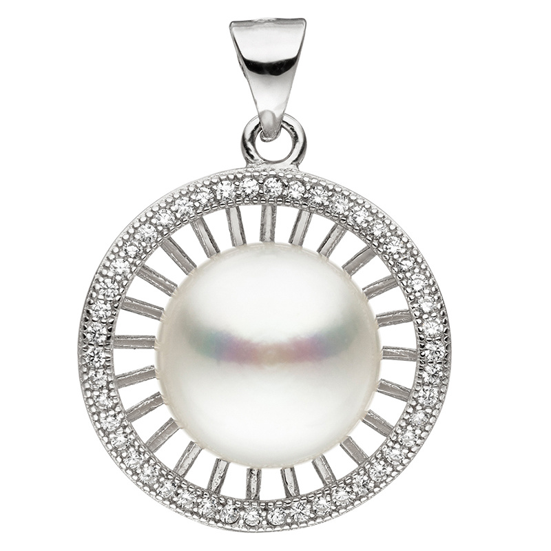 topaz /& matching earrings Sterling silver rhodium pendant with freshwater pearl