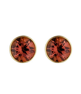 JOBO Gold stud earrings with 2 tourmalines